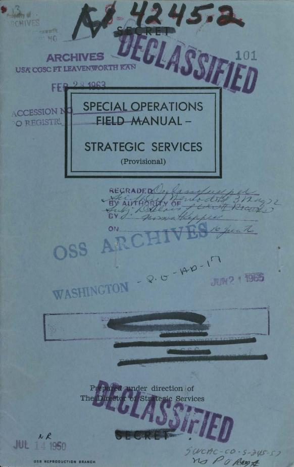 Special Operations Field Manual, Strategic Services (provisional) by
